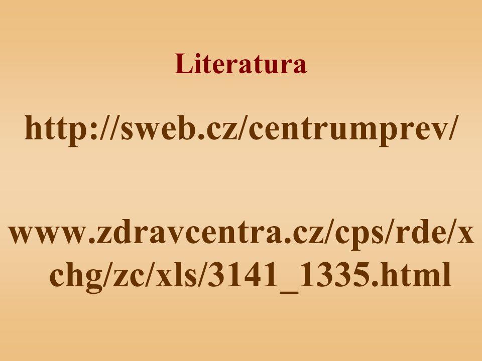 Literatura http://sweb.cz/centrumprev/ www.zdravcentra.cz/cps/rde/xchg/zc/xls/3141_1335.html