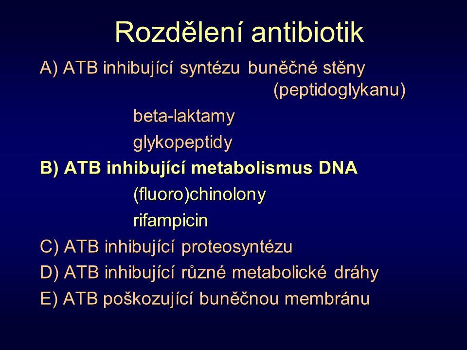 Rozdělení antibiotik A) ATB inhibující syntézu buněčné stěny (peptidoglykanu) beta-laktamy. glykopeptidy.