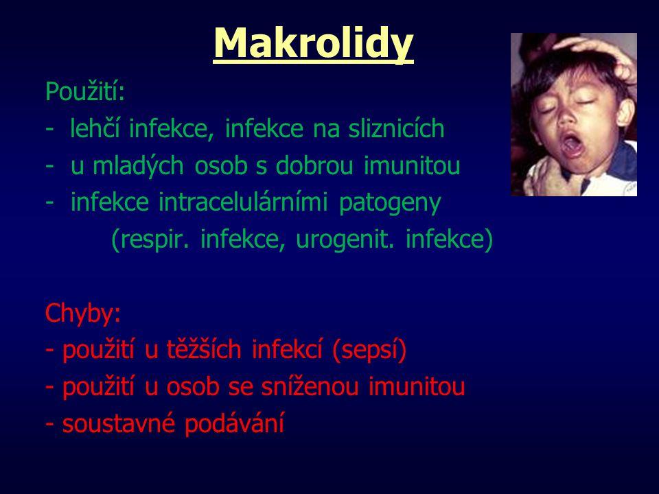 Makrolidy Použití: - lehčí infekce, infekce na sliznicích