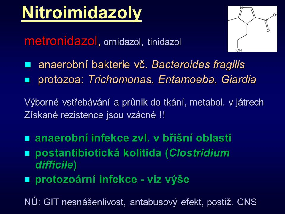 Nitroimidazoly metronidazol, ornidazol, tinidazol