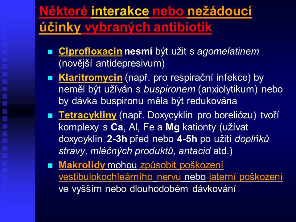 Některé interakce nebo nežádoucí účinky vybraných antibiotik