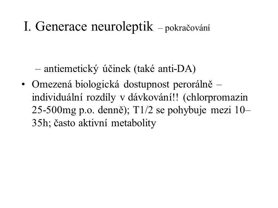 I. Generace neuroleptik – pokračování