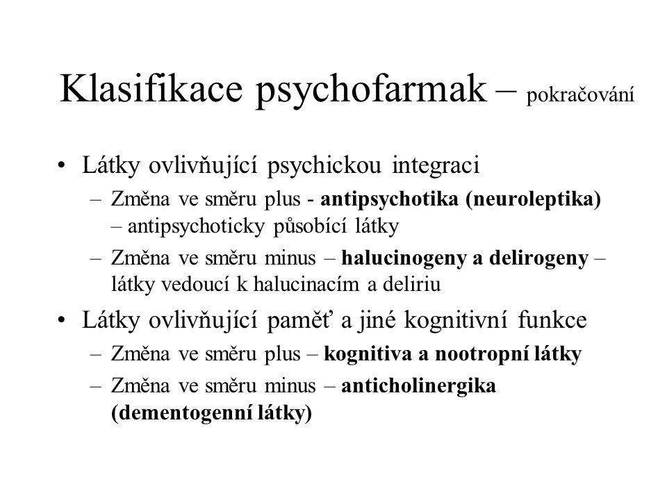 Klasifikace psychofarmak – pokračování