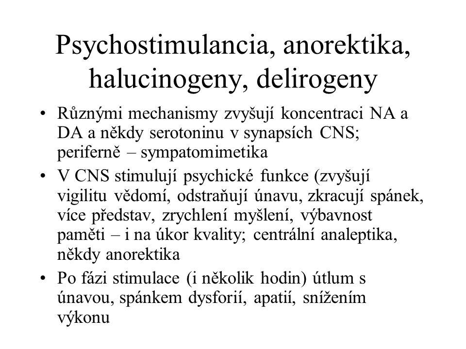 Psychostimulancia, anorektika, halucinogeny, delirogeny