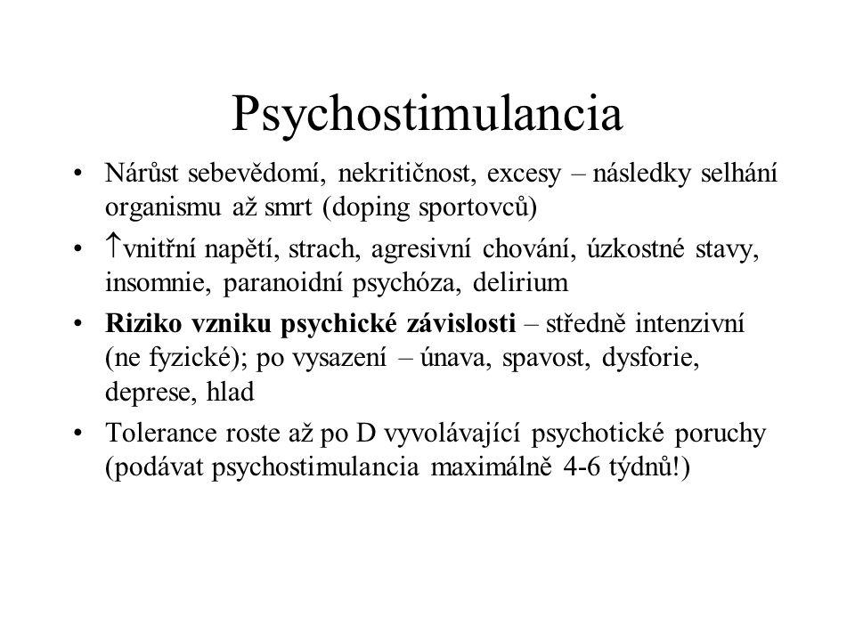 Psychostimulancia Nárůst sebevědomí, nekritičnost, excesy – následky selhání organismu až smrt (doping sportovců)