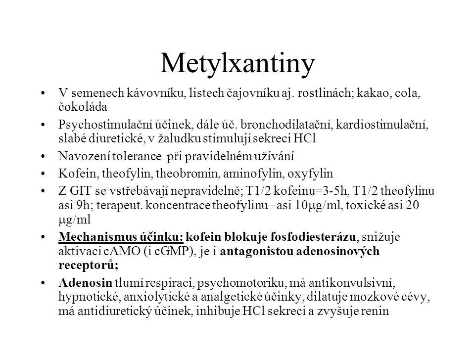 Metylxantiny V semenech kávovníku, listech čajovníku aj. rostlinách; kakao, cola, čokoláda.