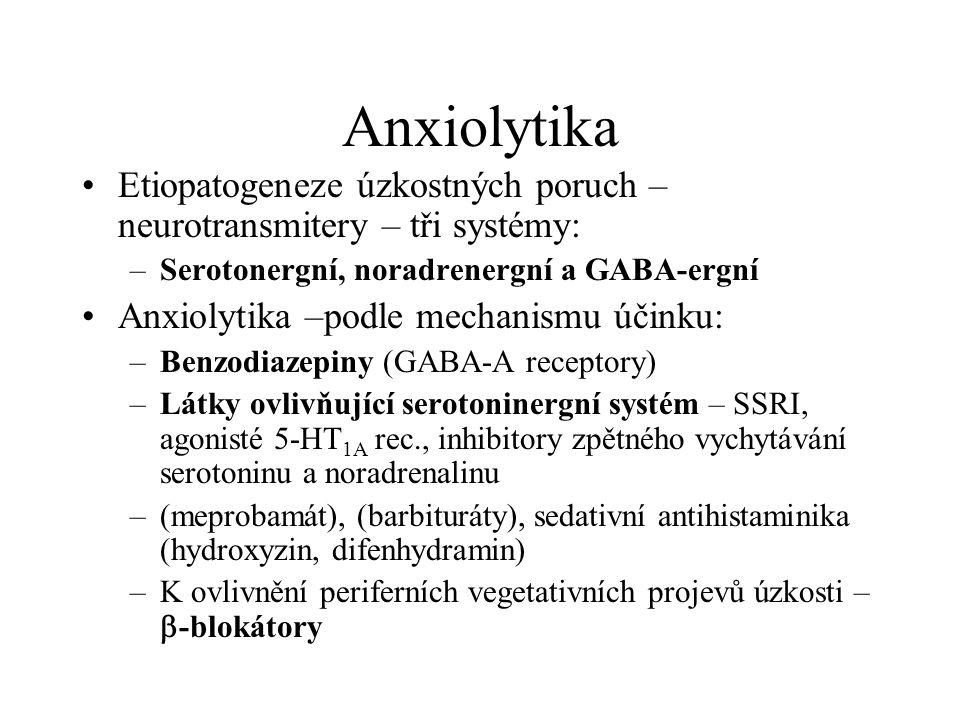 Anxiolytika Etiopatogeneze úzkostných poruch – neurotransmitery – tři systémy: Serotonergní, noradrenergní a GABA-ergní.