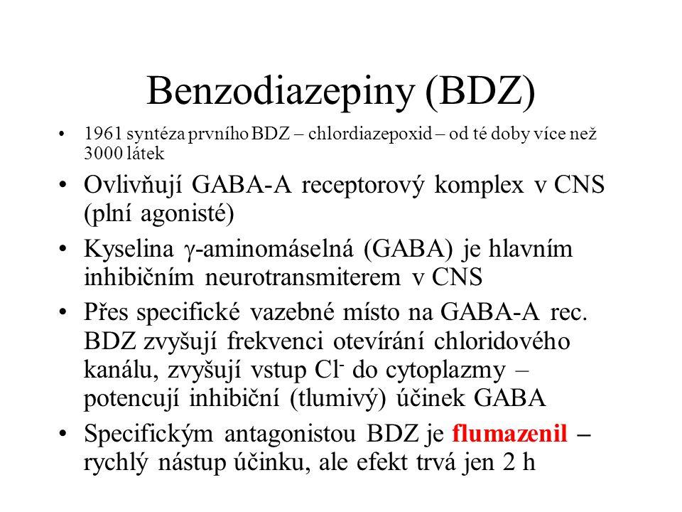 Benzodiazepiny (BDZ) 1961 syntéza prvního BDZ – chlordiazepoxid – od té doby více než 3000 látek.
