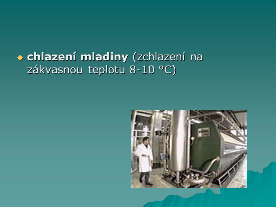 chlazení mladiny (zchlazení na zákvasnou teplotu 8-10 °C)