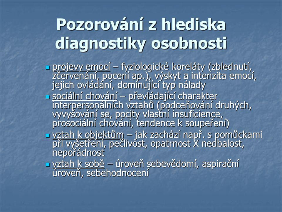 Pozorování z hlediska diagnostiky osobnosti
