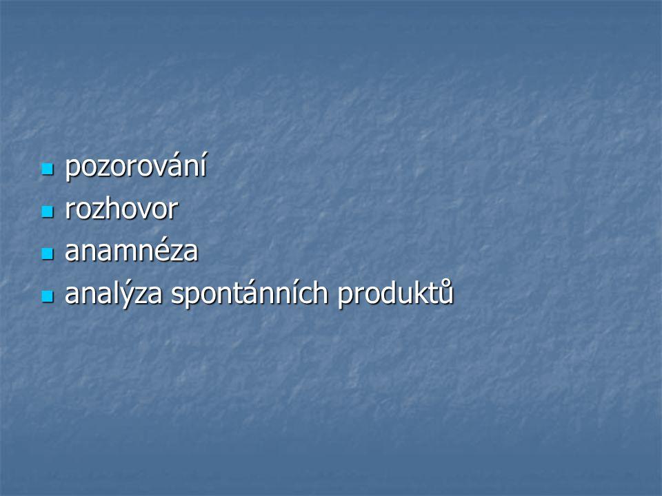 pozorování rozhovor anamnéza analýza spontánních produktů