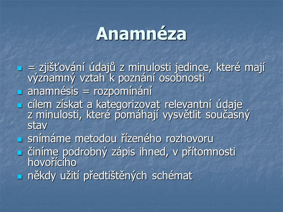 Anamnéza = zjišťování údajů z minulosti jedince, které mají významný vztah k poznání osobnosti. anamnésis = rozpomínání.