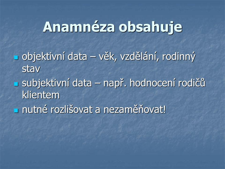 Anamnéza obsahuje objektivní data – věk, vzdělání, rodinný stav