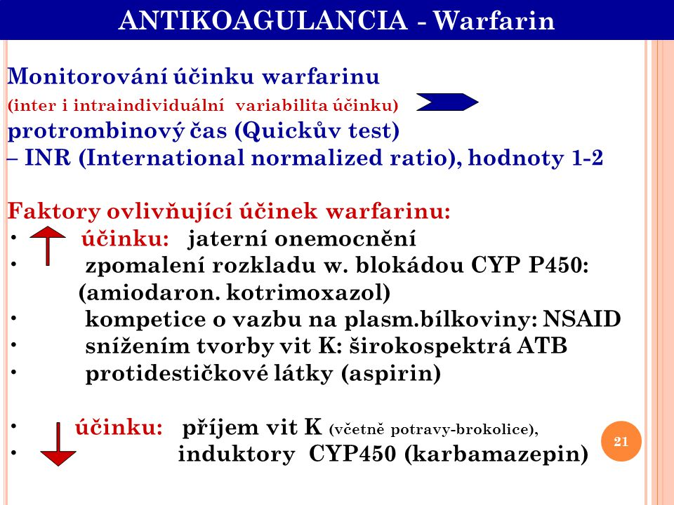 ANTIKOAGULANCIA - Warfarin