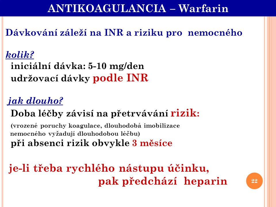 ANTIKOAGULANCIA – Warfarin