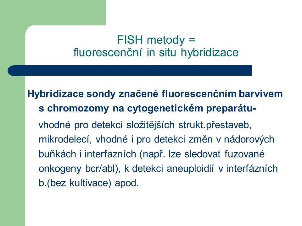 FISH metody = fluorescenční in situ hybridizace