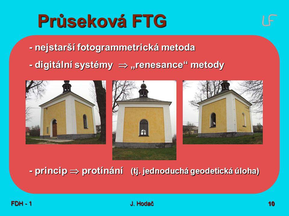 Průseková FTG Princip Snímky co - prostorová poloha bodů objektu