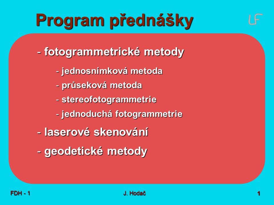 Fotogrammetrie - úvod Proč Co Jak snímek plán FDH - 1 J. Hodač