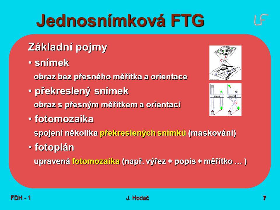 Jednosnímková FTG Princip - vztah dvou rovin  rovina snímku  rovina objektu. Dvě základní možnosti – podle osy záběru (OZ)
