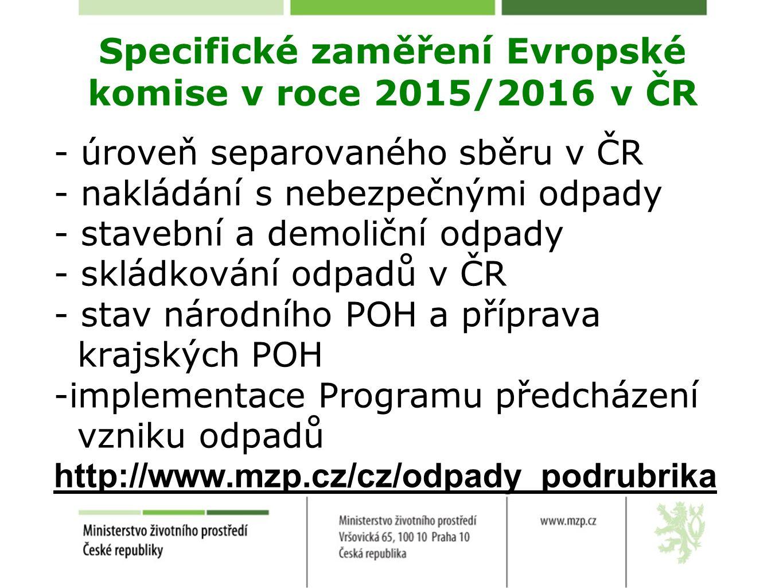 Specifické zaměření Evropské komise v roce 2015/2016 v ČR