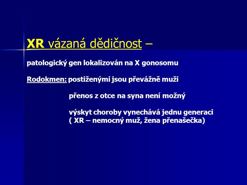 XR vázaná dědičnost – patologický gen lokalizován na X gonosomu