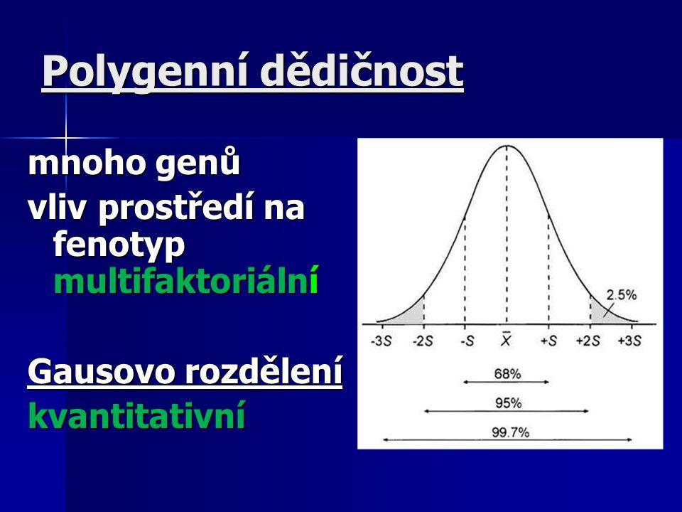 Polygenní dědičnost mnoho genů vliv prostředí na fenotyp multifaktoriální Gausovo rozdělení kvantitativní