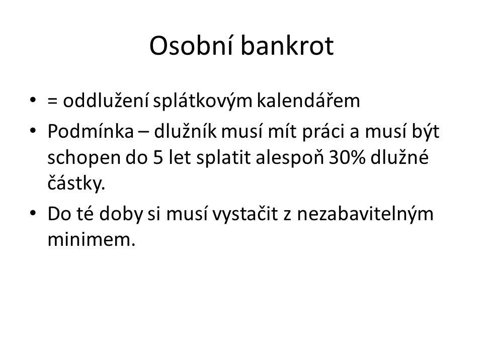 Osobní bankrot = oddlužení splátkovým kalendářem