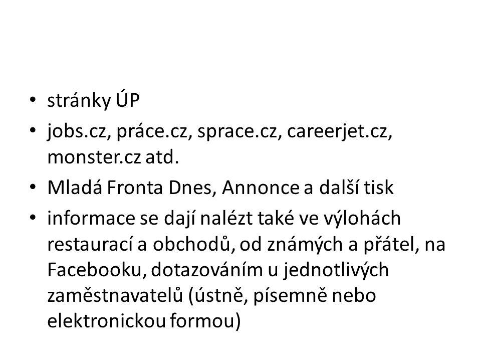 stránky ÚP jobs.cz, práce.cz, sprace.cz, careerjet.cz, monster.cz atd. Mladá Fronta Dnes, Annonce a další tisk.