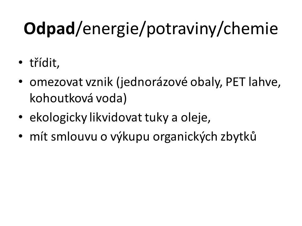 Odpad/energie/potraviny/chemie
