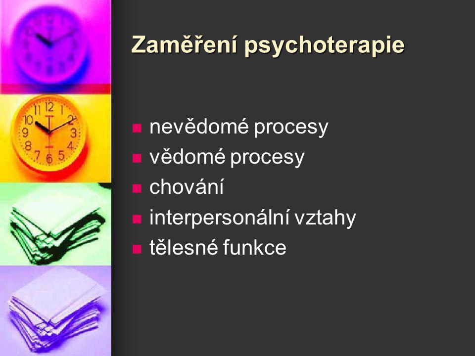 Zaměření psychoterapie