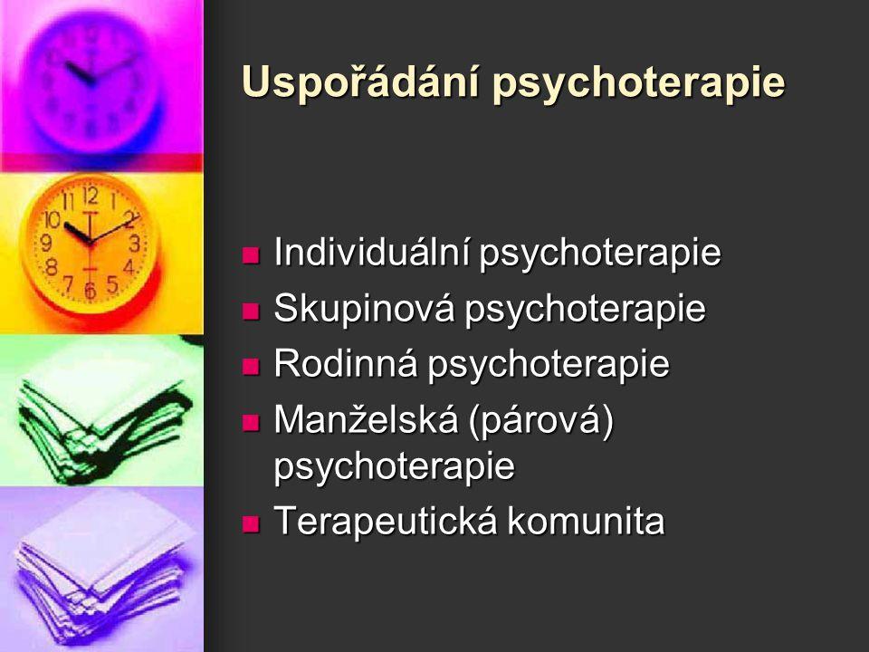 Uspořádání psychoterapie