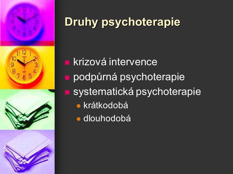 Druhy psychoterapie krizová intervence podpůrná psychoterapie