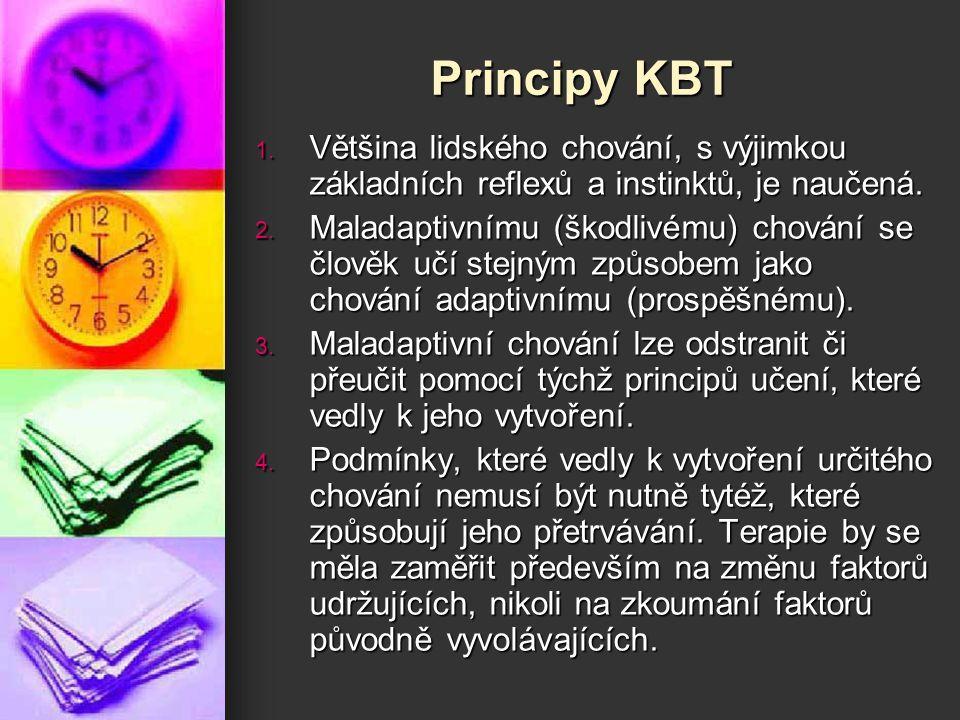 Principy KBT Většina lidského chování, s výjimkou základních reflexů a instinktů, je naučená.