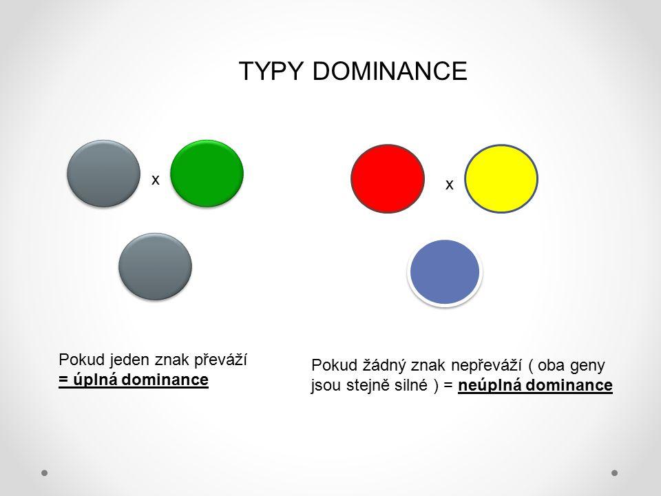 TYPY DOMINANCE x x Pokud jeden znak převáží