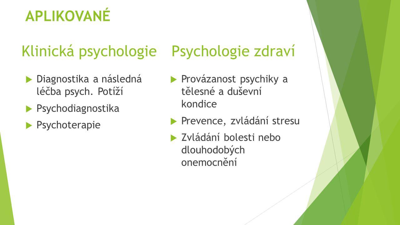 Klinická psychologie Psychologie zdraví