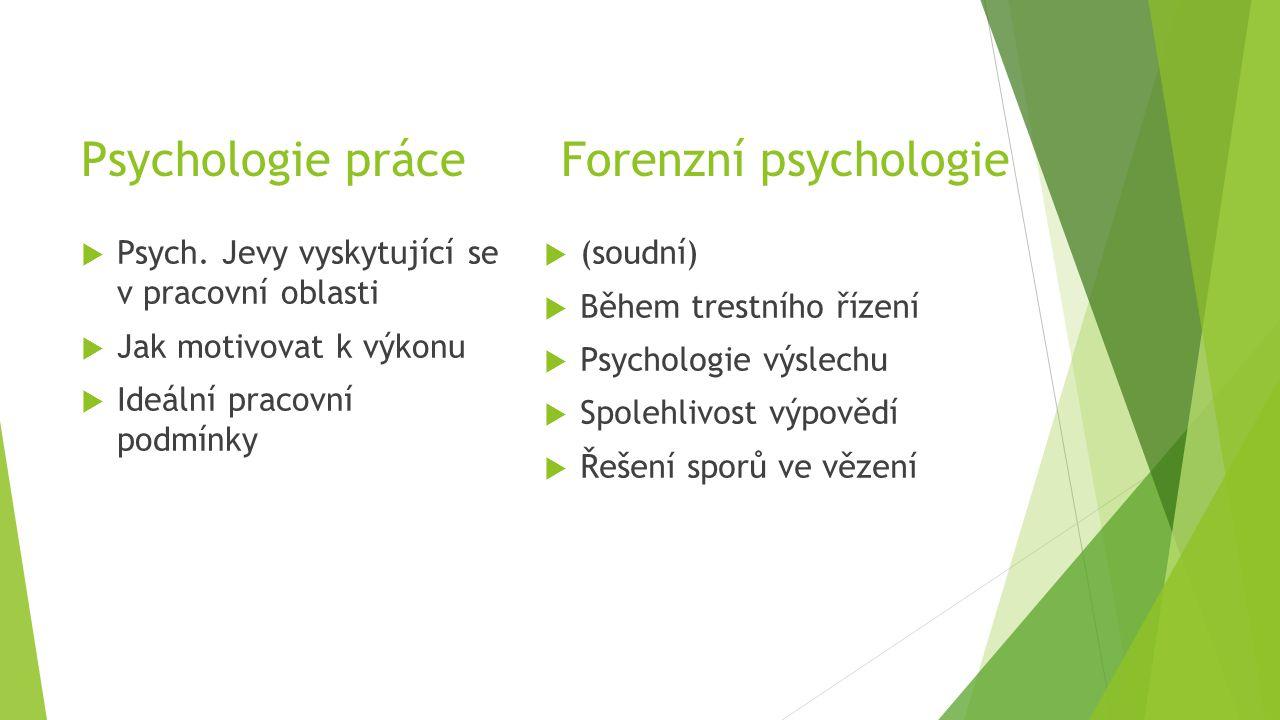 Psychologie práce Forenzní psychologie