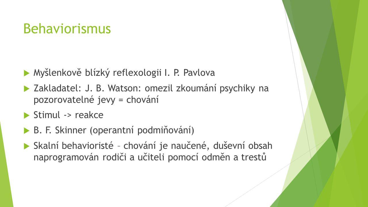 Behaviorismus Myšlenkově blízký reflexologii I. P. Pavlova