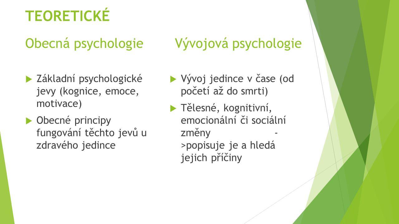 Obecná psychologie Vývojová psychologie