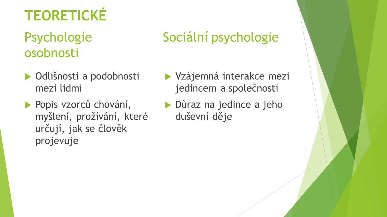 Psychologie Sociální psychologie osobnosti