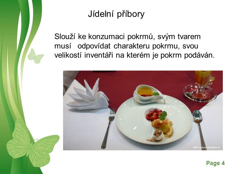 Jídelní příbory Slouží ke konzumaci pokrmů, svým tvarem musí odpovídat charakteru pokrmu, svou velikostí inventáři na kterém je pokrm podáván.