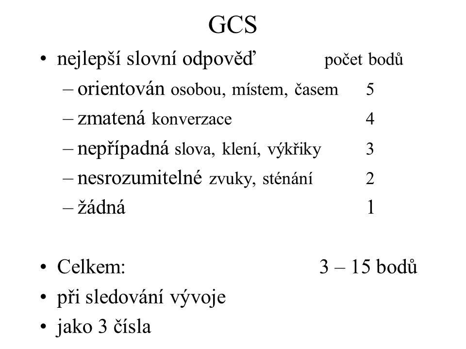 GCS nejlepší slovní odpověď počet bodů