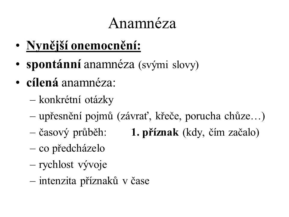 Anamnéza Nynější onemocnění: spontánní anamnéza (svými slovy)