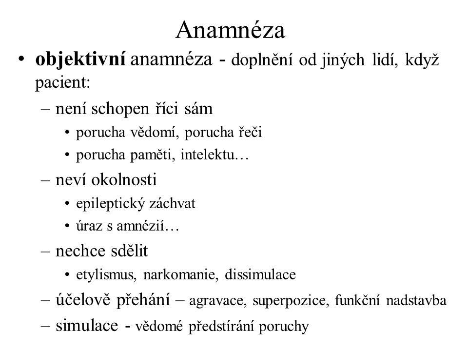 Anamnéza objektivní anamnéza - doplnění od jiných lidí, když pacient: