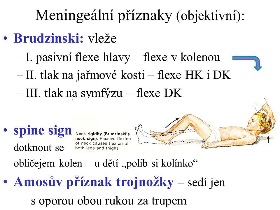 Meningeální příznaky (objektivní):