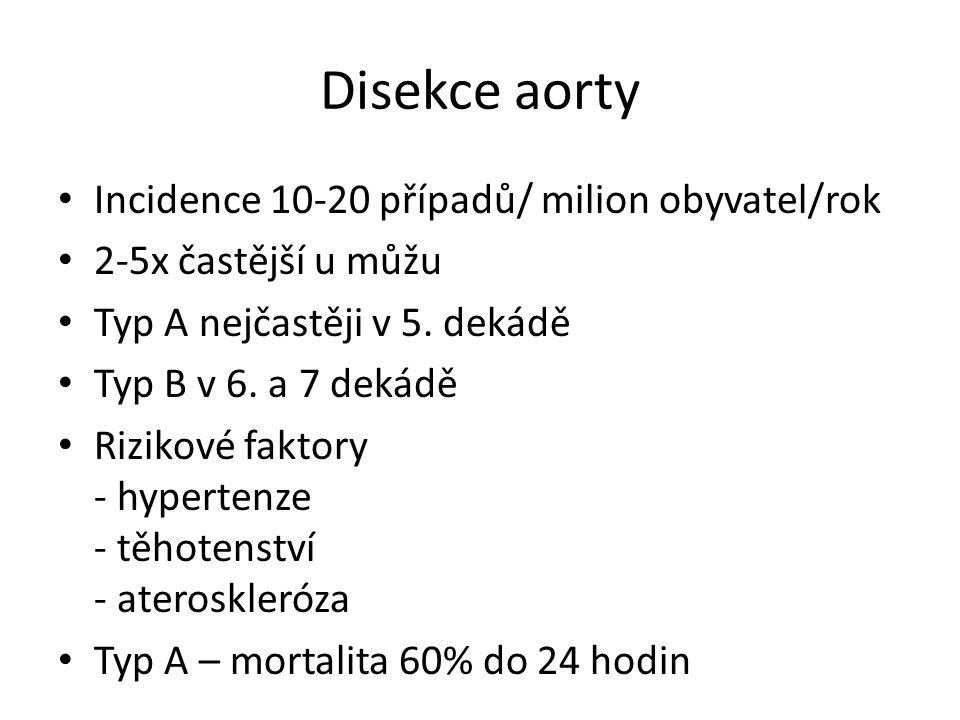 Disekce aorty Incidence 10-20 případů/ milion obyvatel/rok