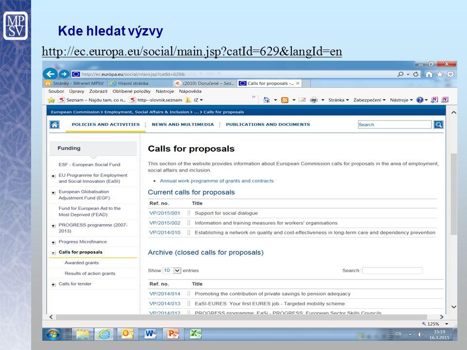 Kde hledat výzvy http://ec.europa.eu/social/main.jsp catId=629&langId=en