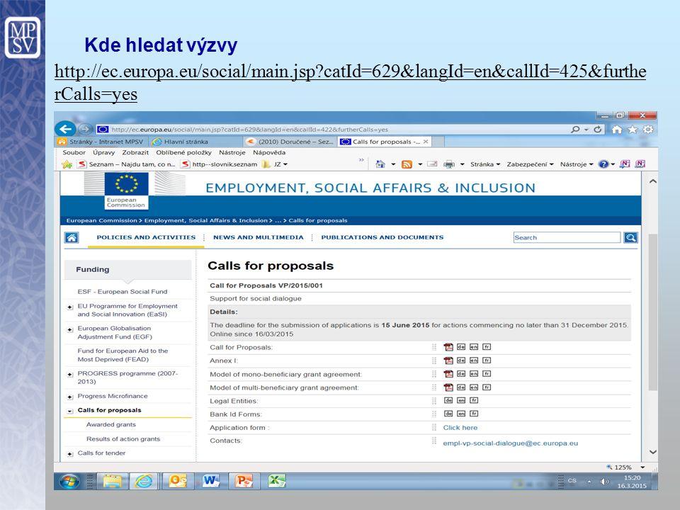 Kde hledat výzvy http://ec.europa.eu/social/main.jsp catId=629&langId=en&callId=425&furtherCalls=yes.