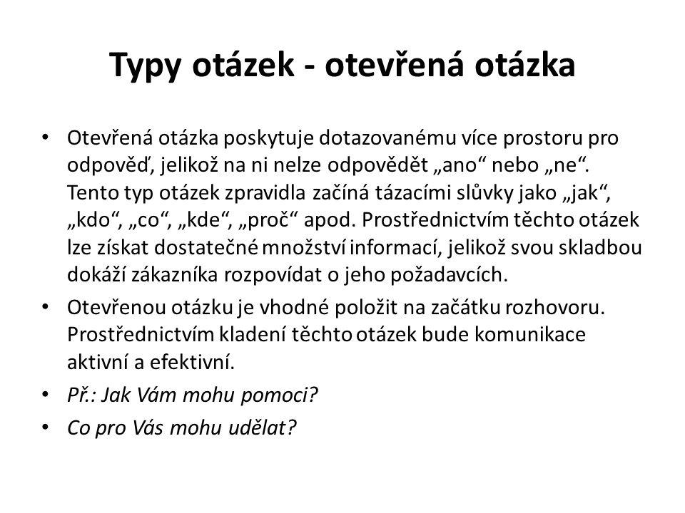 Typy otázek - otevřená otázka