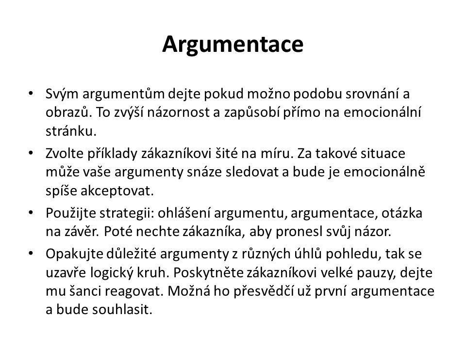 Argumentace Svým argumentům dejte pokud možno podobu srovnání a obrazů. To zvýší názornost a zapůsobí přímo na emocionální stránku.