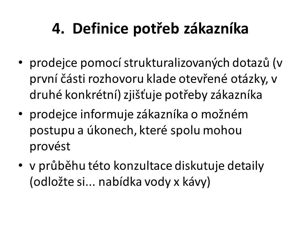 4. Definice potřeb zákazníka
